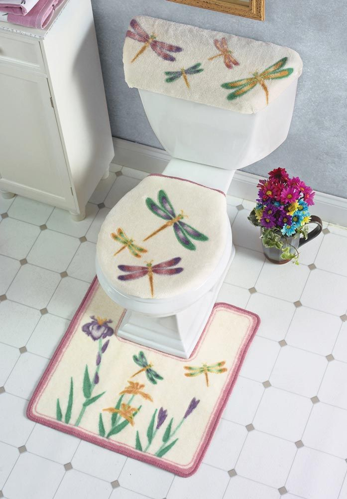 Collections Etc. - Dragonfly Bathroom Bath Mat With Toilet Seat & Tank Cover