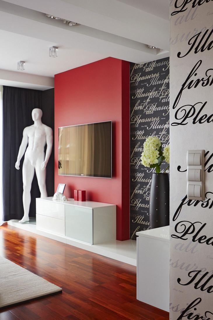 Потолок  M09 Residence, WIDAWSCY STUDIO ARCHITEKTURY, яркий дизайн квартиры, интерьер в красном цвете, интерьер квартиры творческого человека, обзор квартиры