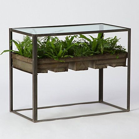 This cries out for a DIY version. Would be cool to grow herbs in. Terrarium Side Table  (shopterrain)