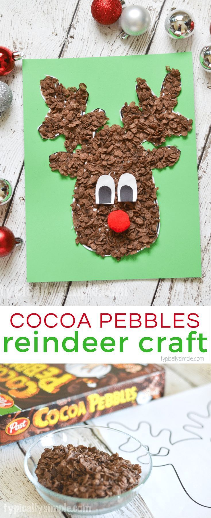 Using Cocoa Pebbles, create this super cute reindeer craft with the kids for Christmas! [ad]