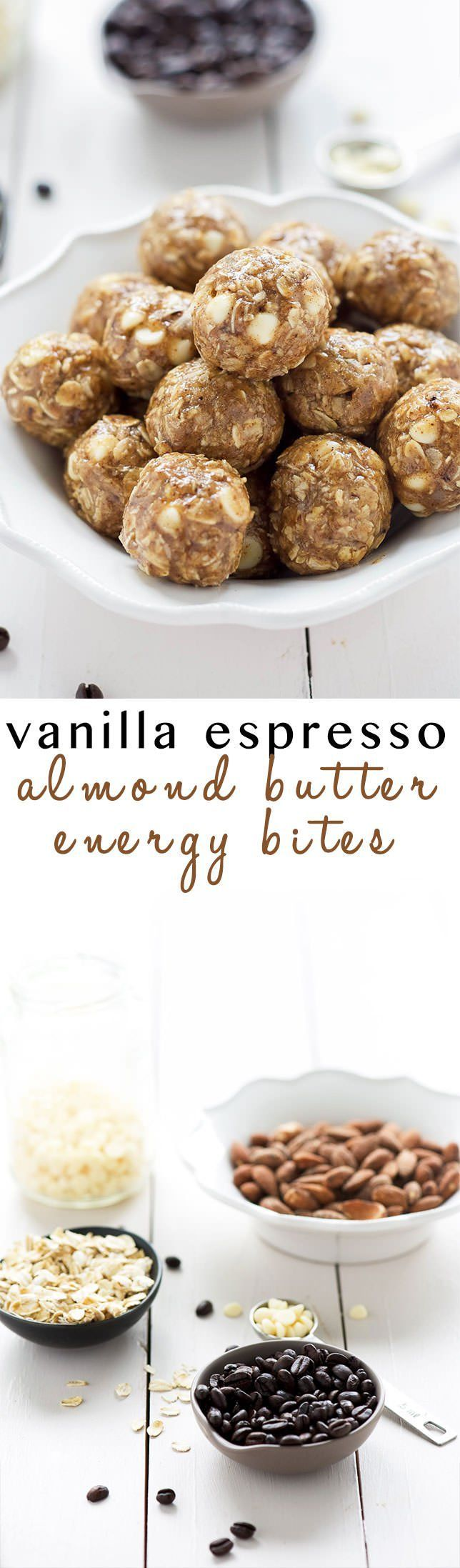 Vanilla Espresso Almond Butter Energy Bites | Gluten Free, Chocolate, Low Carb, Clean Eating, Maple Syrup, Cookie Dough, Protein Ball