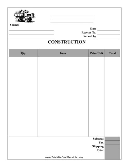 This Construction Receipt can be used by a carpenter, brick mason, roofer, or any other contractor. Free to download and print