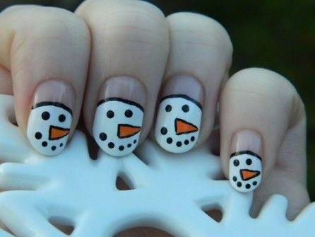 Ideas para Decorar Uñas en Navidad - Uñas Muñeco de Nieve