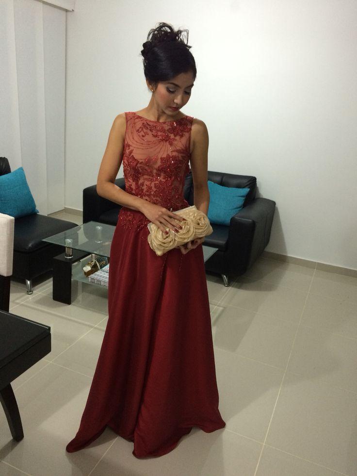 Vestido rojo largo para fiesta de noche