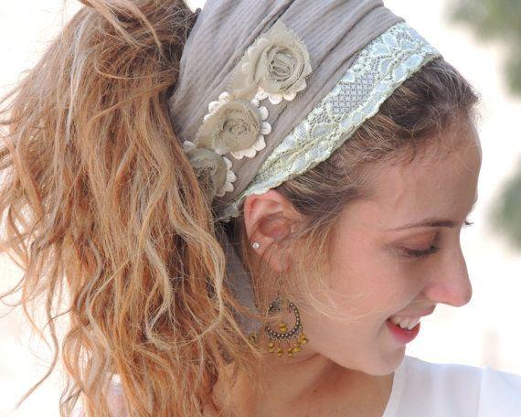 Soft Green Beautiful Headband tichel Snood by SaraAttaliDesign https://www.etsy.com/il-en/shop/SaraAttaliDesign