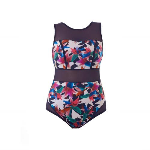Fitness Swimsuit, Active Swimming Costume, Sports Swimming Costume, Exercise Swimsuit, Flattering, Feminine, Supportive, Tummy Control, Enhance Waist, Bust Support, Comfortable, Triathlon, Outdoor Swimming, Designed for Swimming, UV resistant, Chlorine resistant, Sea Water friendly, Flattering for DD+ bust, Curvy Swimwear, Lily Floral Print, Bright Colour