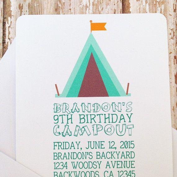 12 camping birthday invitations with envelopes, campout birthday invites, outdoors tent birthday party, printed birthday invitation