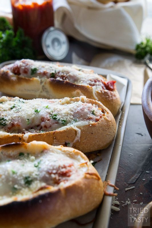 hree Cheese Italian Meatball Subs // Meatball subs taken to the next level with THREE different kinds of cheese. The cheese lover inside will shout for joy at first bit of these tasty sub sandwiches! | Tried and Tasty #AD #SausageFamily http://triedandtasty.com/three-cheese-italian-meatball-subs/