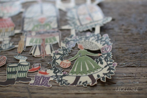 Mihoko Seki Papercut Stamp Sticker {Rainy Day}