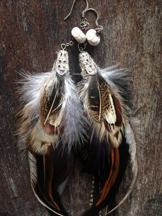 ⭐️⭐️Extra Long Natural Boho Hippie Tribal Gypsy Festival Rooster, Pheasant and Emu Feather Earrings with Creamy white Magnesite Bead OoaK⭐️⭐️ One of a kind! This beautiful pair is made rob be unique,you won't find another's like it. They're extra Long to blend in naturally with
