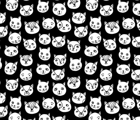 Cat Faces - Black and White by Andrea Lauren fabric by andrea_lauren on Spoonflower - custom fabric