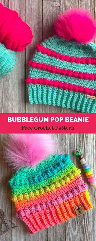 Bubblegum Pop Beanie Free Crochet Pattern Haken Pinterest