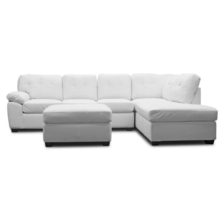 Baxton Studio Mario Leather Modern Sectional Sofa with Ottoman - For conversation and rejuvenation, the Baxton Studio Mario Leather Modern Sectional Sofa with Ottoman accents your home and provides a relaxation...
