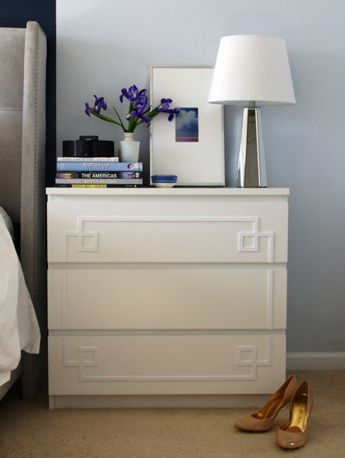 "An easier-than-normal Ikea hack on a ""Malm"" dresser turned nightstand"