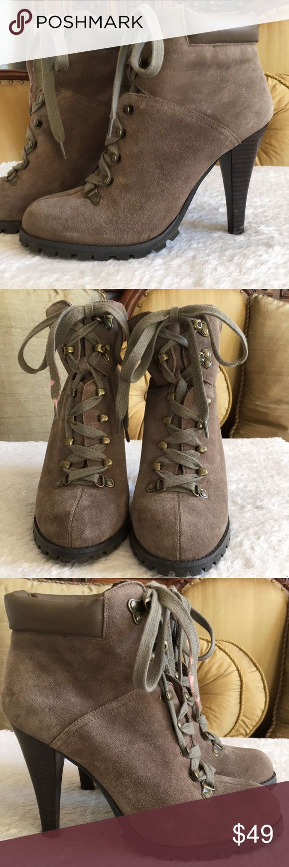 """Jessica Simpson Baxter boots 💟Good condition, 7.5"""" total boot height and 4"""" heels. The your conference of the boot is adjustable when you tie it at the top.  One lease got bleach on it, can be replaced. There are some minor marks on one of the heels. Jessica Simpson Shoes Ankle Boots & Booties"""