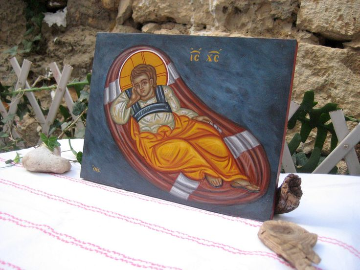 Christ o Anapeson- Byzantine  reclining infant jesus
