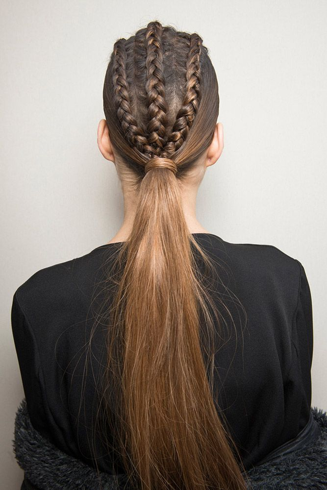 There was no bad angle with the three-strand braids with low ponytail from the Balmain show. Hair genius Sam McKnight came up with the clever hairstyle that's perfect for days when you cannot decide between braids and a pony.
