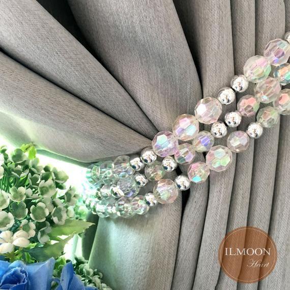 Pair X2 Glitter Crystal Curtain Tie Backs Grey Decor Blink