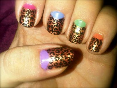 Off The Nail:   Leopard print Nails with Multicoloured half moons!