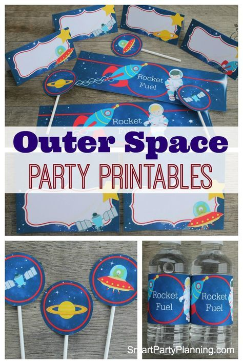 Outer space printables are perfect party decoration. Including water/soda labels, food tent labels & cupcake toppers. Instantly create an outer space feel.