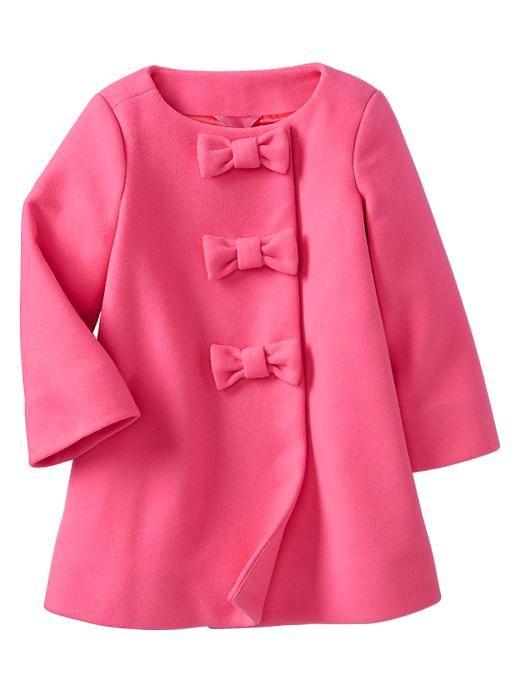 Pink Wool Bow Coat - Baby Gap