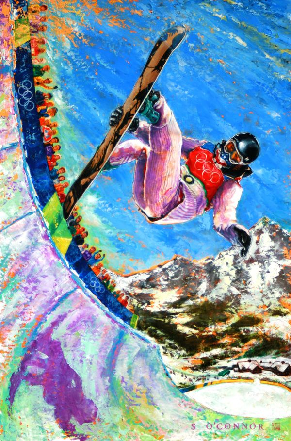 Series of 11 Olympic Paintings by Sean OConnor, via Behance ~ 2010 Winter Olympic Snowboarding Gold Metalist Shawn White