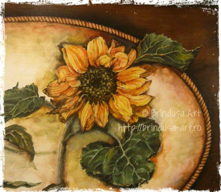 Sunflowers and fall (autumn) go well together. Detail from the old trunk I'm painting... Acrylics on wood.  Floarea-soarelui şi toamna merg bine împreună. Detaliu de pe o ladă veche pe care o pictez... Culori acrilice pe lemn.  #woodpainting #picturapelemn #paintedtrunk #sunflowers #autumn #fall #toamna #acrylics #acrilice #workinprogress #inlucru #detail #detaliu #BrindusaArt #handmade