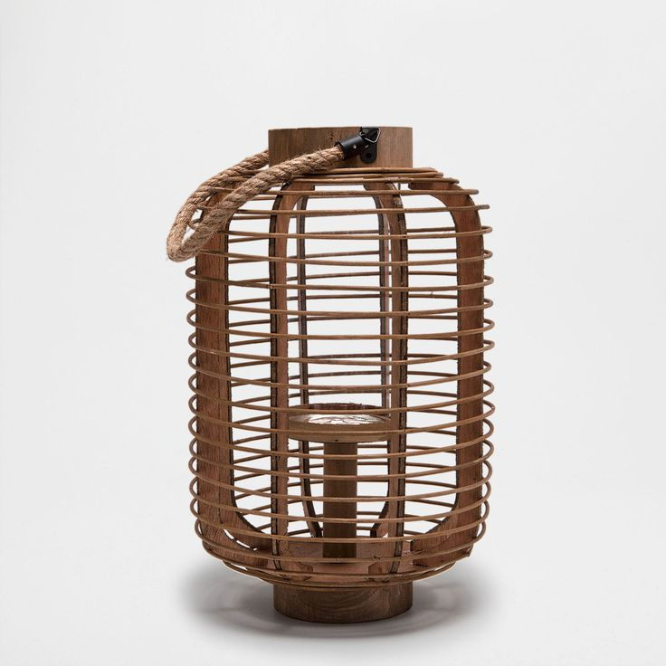 Image 1 of the product Lantern with a wooden structure and jute handle