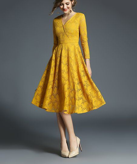 LAKLOOK Yellow Abstract Surplice Dress - Plus Too | zulily