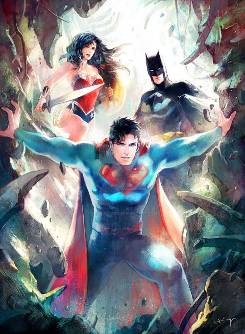 Awesome painting of Superman, Batman and Wonder Women