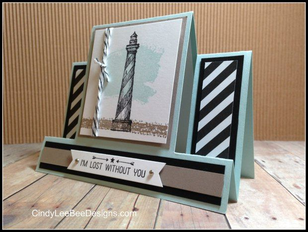 Stampin' Up From Land to Sea Center Step Card TUTORIAL  by Cindy Brumbaugh of CindyLeeBeeDesigns.com