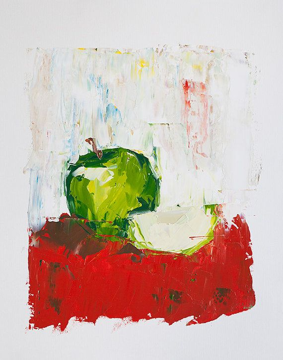 Green Apple Painting Fruit Painting Abstract Painting By Ebuchmann, $100.00