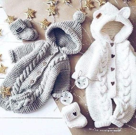 Knitted rompers for babies: romper and booties.  Characteristics: Material: baby…
