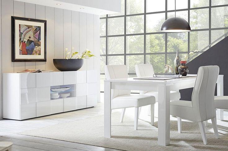 Salle manger design blanc laqu atmore en 2019 salle a Salon salle a manger design