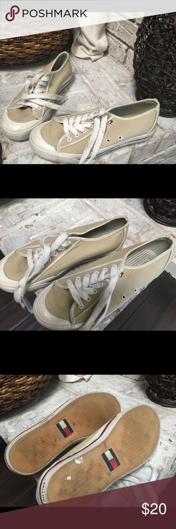 Tommy Hilfiger Tennis Shoes Great condition! Khaki Tommy tennis shoes. They've been barely worn! Tommy Hilfiger Shoes Sneakers