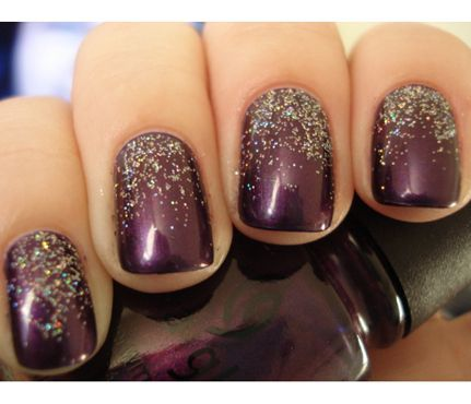 Glam Glitter Nails: Violet Wonder. 'Tis the season to try a new shade. Experiment with deep metallic purples and a sparkling gold topcoat for a dramatic look. #SelfMagazine