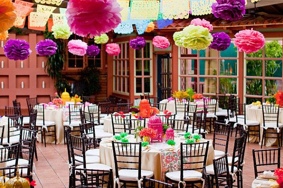 30 Tissue Paper Pom flowers for your Fiesta Wedding - Mexican Hand Cut Tissue on Etsy, $150.00