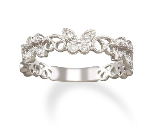 Stackable Diamond Butterfly Ring in 14k White Gold Ring only $498.00 - Wedding Bands