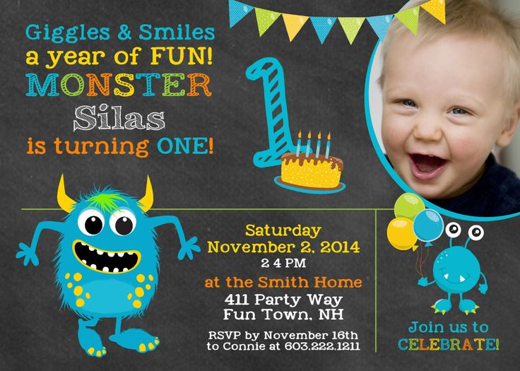 128 best images about Boy Birthday Party Invitations – Monster Party Invites