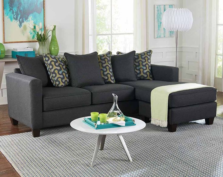 Gray Living Room Sectional With Teal And Yello Accent Pillows | American  Freight Https:/