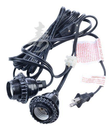 Black Double Socket Cord Kit for Paper Lanterns by Asian Import Store, Inc.. $12.00. Our black double socket lamp cords are 17 feet long and for indoor use. This cord has an inline on/off switch, 60 watt maximum for hanging and lighting our paper lanterns. This cord comes with two socket heads and the sockets are approximately 42 inches apart. This cord is a double socket cord. Cord uses two standard Type A light bulbs.   Dimensions: 17'L