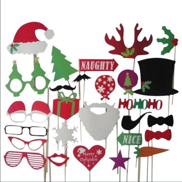 27Pcs/set Christmas photo booth props Have fun this Christmas with the 27Pcs/set New funny DYI photo booth props. Mustache, glasses, snowflakes and more on a stick. Other