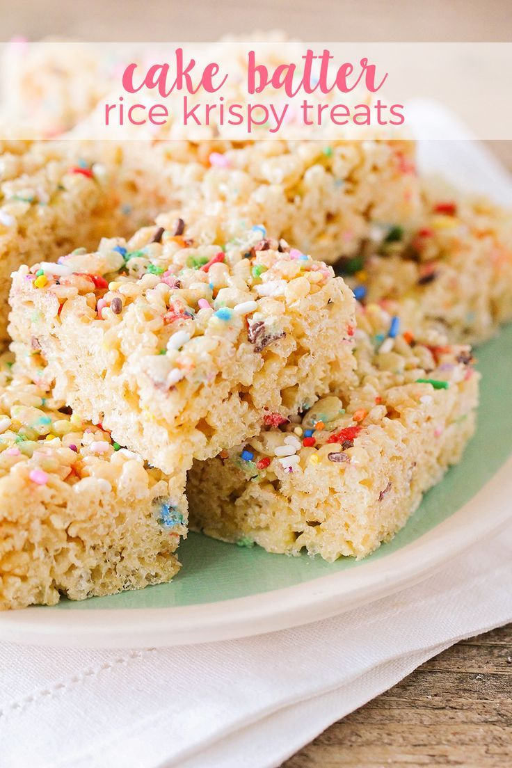 These cake batter rice krispy treats taste just like birthday cake and are loaded with colorful sprinkles. So easy to make and the kids will love them!