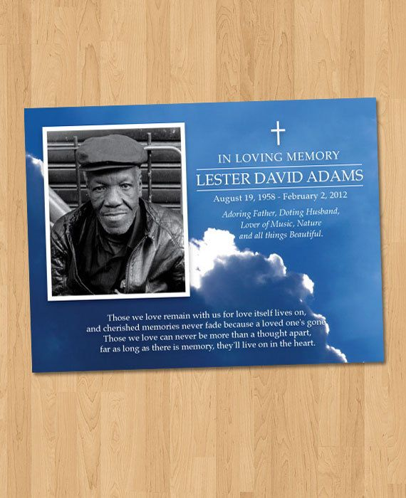 DIY Print - Pocket Size - 3x4 Photo Memorial Remembrance Funeral Card