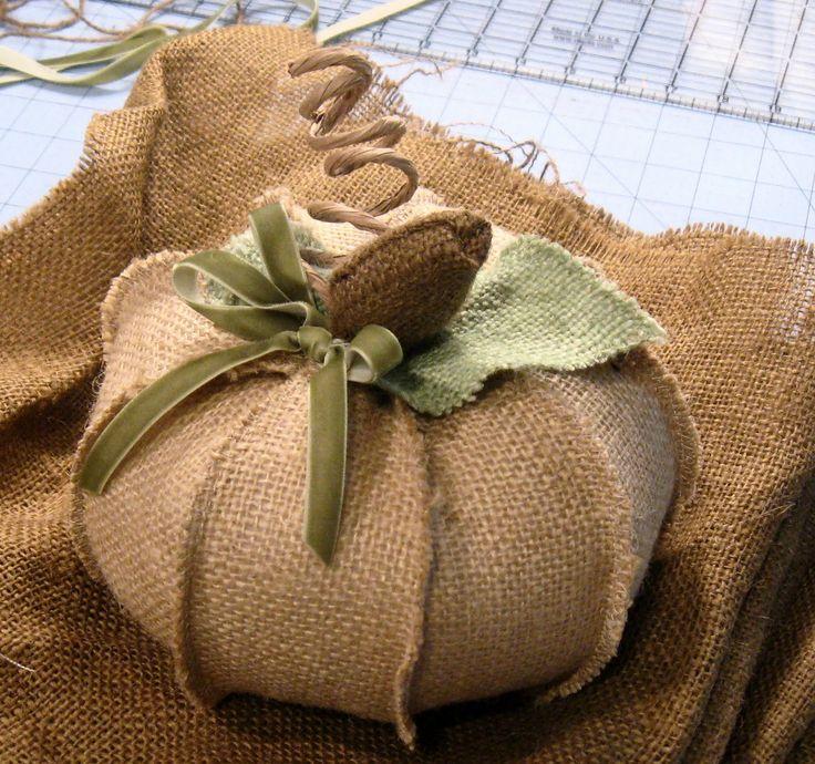Burlap pumpkins. How cute would this be as a pin cushion?