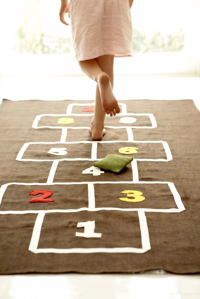 Handmade hopscotch mat for indoor play, and party ideas