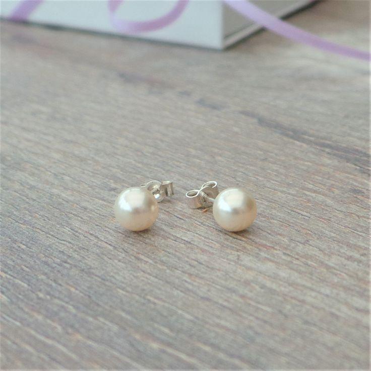 Simple pearl stud earrings by jewellerymadebyme on Etsy