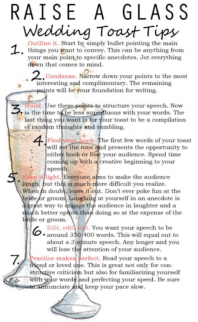 Wedding toast tips... May be good for the emotional bride/grooms speeches of gratitude as well!! 《《If I'm ever picked to make one 》》