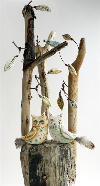 Shirley Vauvelle, Mixed Media Artist / Just the two of us / Need there be anymore said. Lovely to be in love. (earthernware,driftwood, 41cm x 12cm x 9cm)