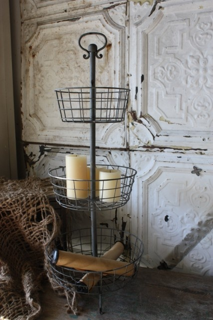 ♥Tiered Wire, Baskets Trays, Three Tiered, Tiered Baskets, French Bathroom Ideas, Ceilings Tile, Old Tins, Wire Baskets, Bathroom Decor